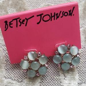 Betsey Johnson Green Iridescent Earrings NWT